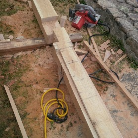 White oak post notched and mortised for exterior arbor at Garrison, NY property. Fabrication by Third Floor Corporation Apprentices.