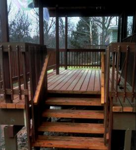 "Notice the thickness of the lumber on this Deck House Balcony Deck in Pleasantville NY. Standard decking on stick built houses is 5/4"" nominal, about 1"" thick actual, whereas the solid cedar decking provided by deck house is 12/4"" actually about 2 5/8"" thick.   Photograph and stair carpentry by Third Floor apprentice Israel Mermelstein"