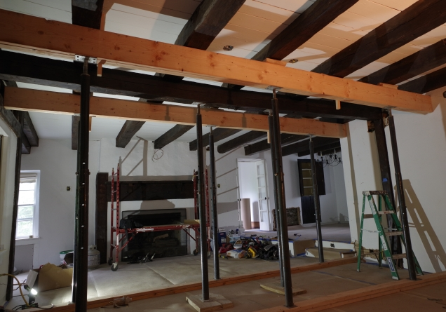 Temporary beams in place